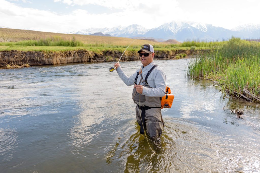 Man fly fishing in Owens River.