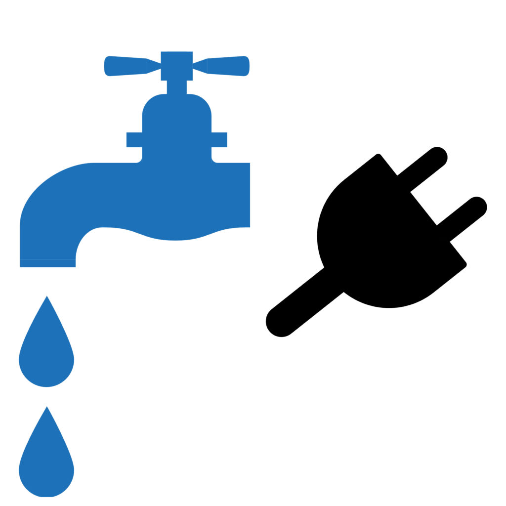 Image of a faucet with water coming out of it and a power plug
