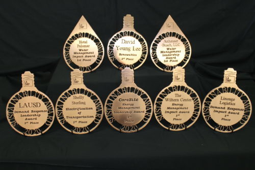 Shiny, flat, copper awards in the shape of water drops and light bulbs with cut out letters spelling Sustainability Awards 2020. In the center are the names of the particular awardee.