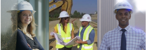 Image of a woman with a hard hat, a man with a hard hat and one man and woman talking to eachother wearing hard hats and holding maps