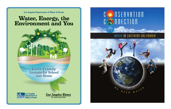 A graphic of two posters one that reads water energy the environment and you and the other reads conservation connection