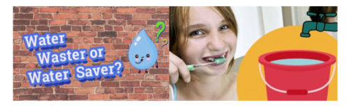 Images of a water droplet with text that reads water waster or water saver and an image of a girl brushing her teeth