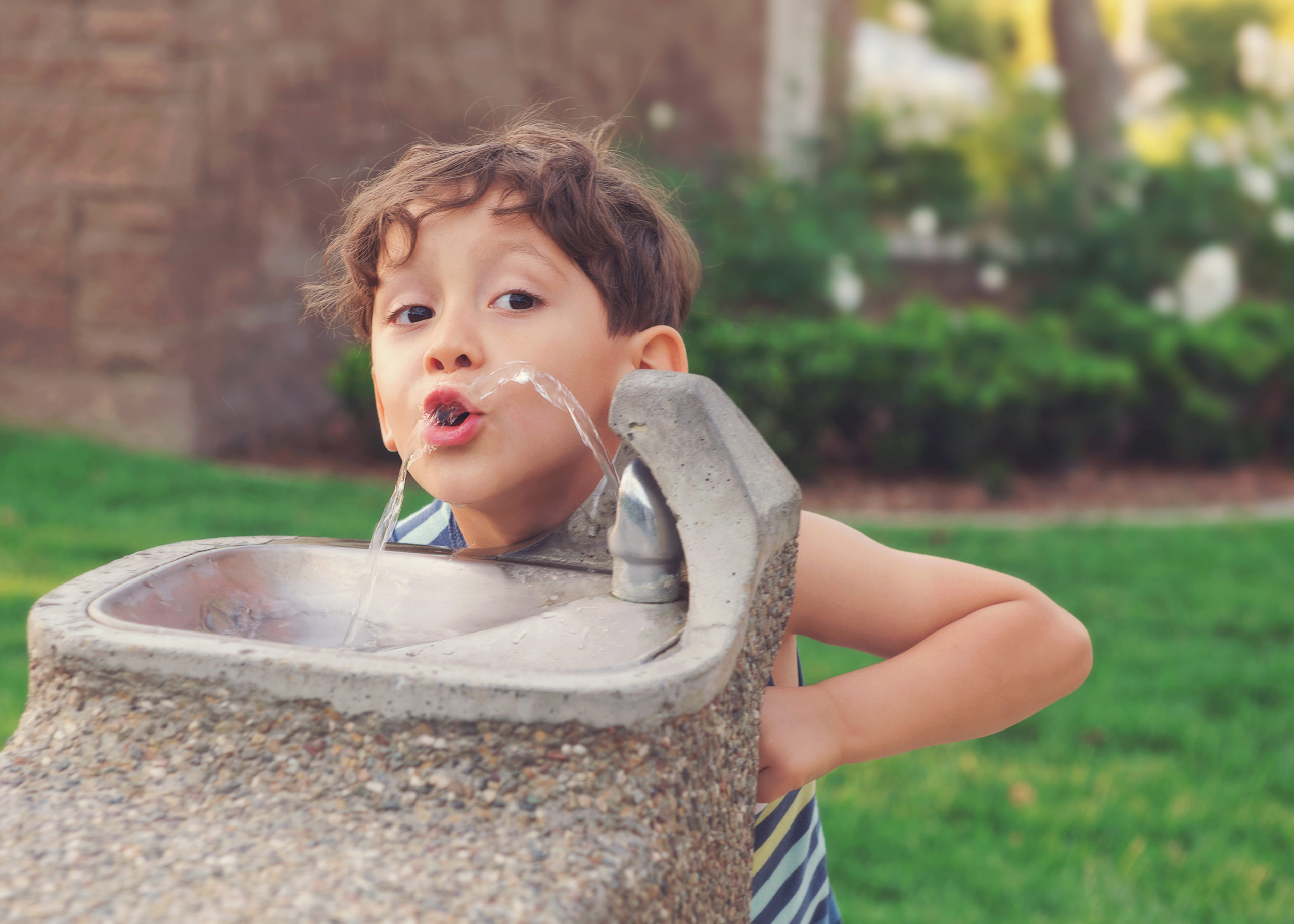 Image of a young boy drinking from a public drinking founain.