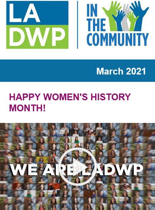 Image with text that reads LADWP in the community happy women's history month