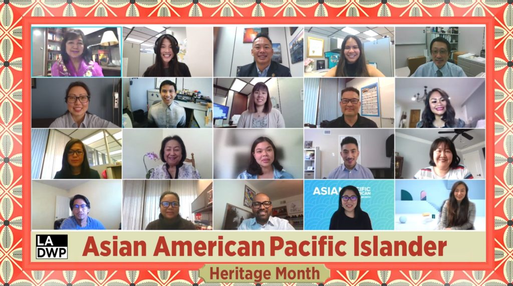 Image of a group of people on a video conference call with text that reads Asian American Pacific Islander Heritage Month