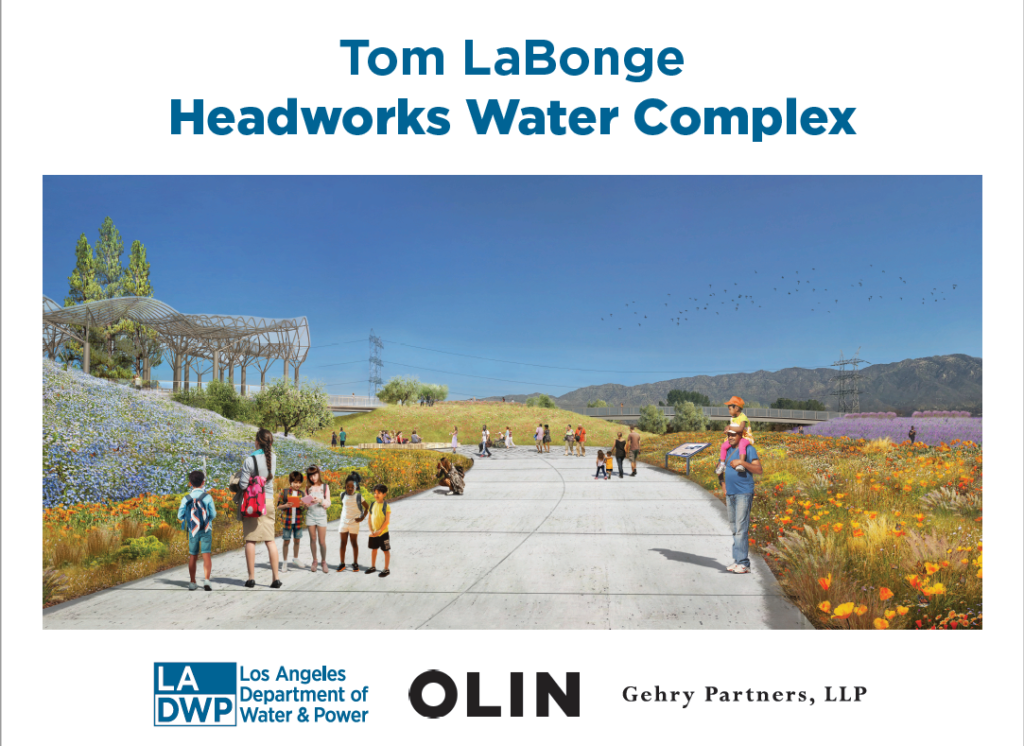 Image of a rendering showing a group of children and other people walking on a pathway with text that reads tom labonge headworks water complex
