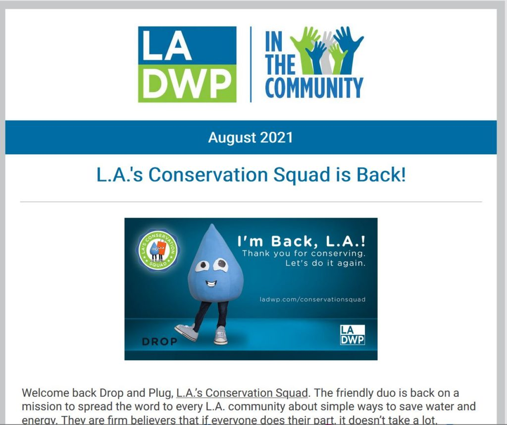 Image of a screenshot of a newsletter with text that reads LADWP in the community L.A.'s conservation squad is back