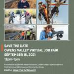 Save the Date: Sept. 15, 2021 Owens Valley Virtual Job Fair