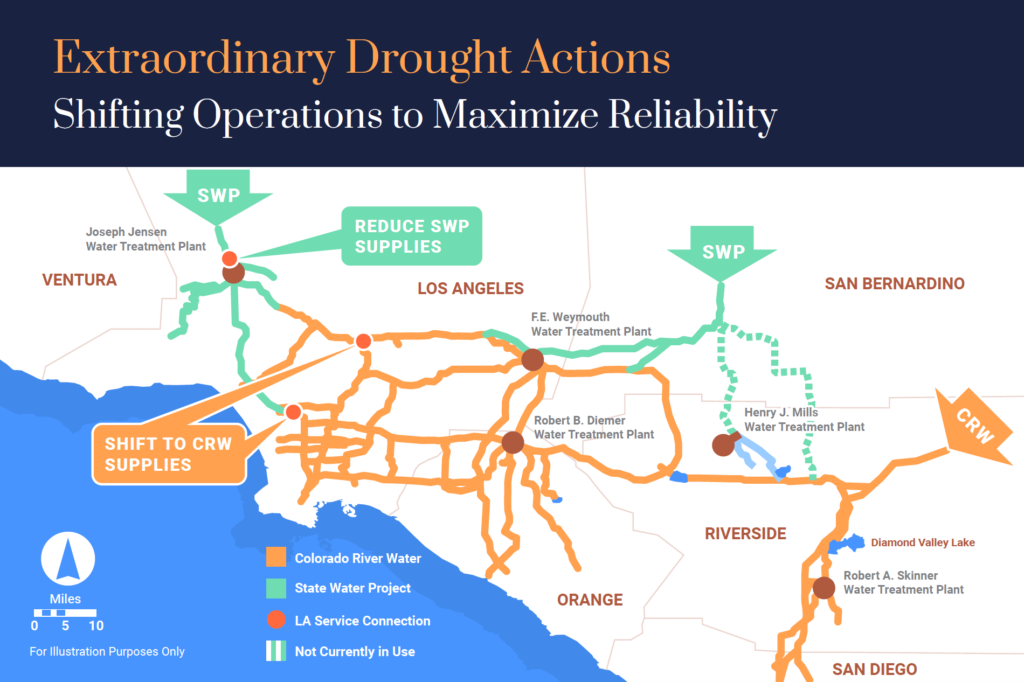 Image of a map with text that reads extraordinary drought actions